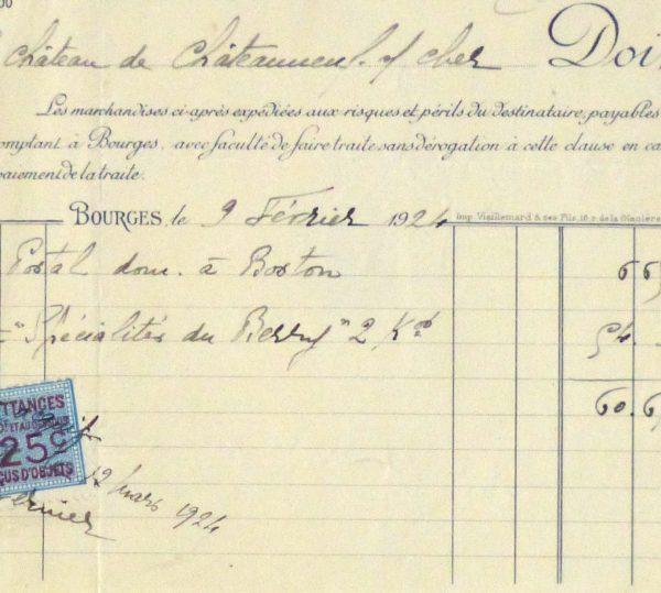 Duchess of Maillé Confections Receipt, 1926-detail-10568K