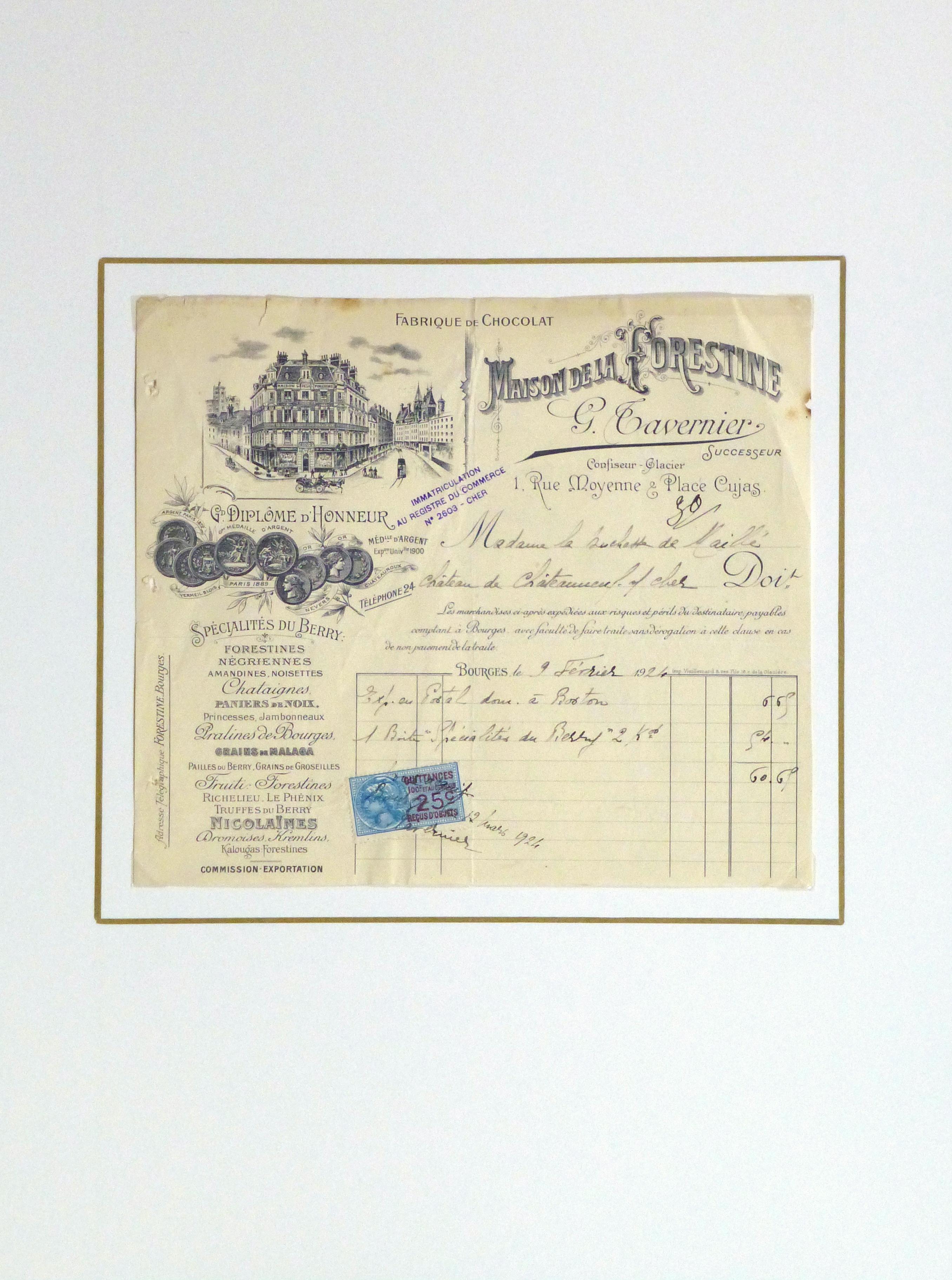 Duchess of Maillé Confections Receipt, 1926-matted-10568K