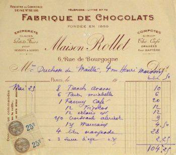 Duchess of Maillé Chocolates Receipt, Circa 1920-main-10569M