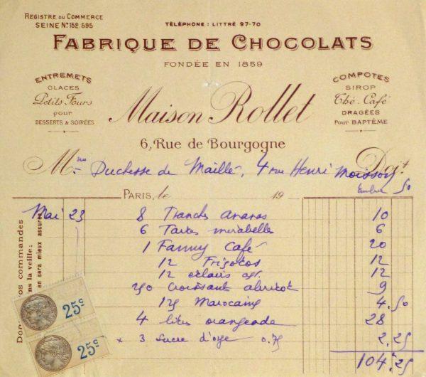 Duchess of Maillé Chocolates Receipt, Circa 1920-main-10569M