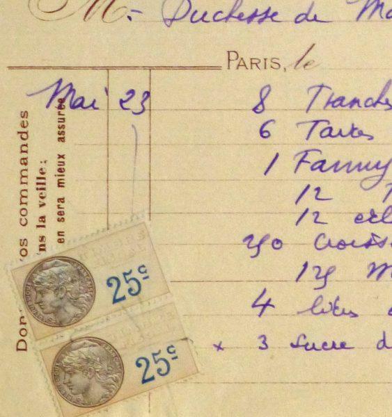 Duchess of Maillé Chocolates Receipt, Circa 1920-detail 2-10569M