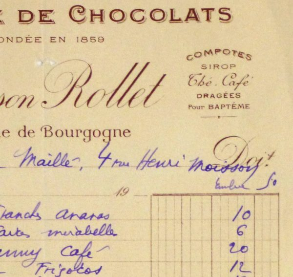 Duchess of Maillé Chocolates Receipt, Circa 1920-detail-10569M