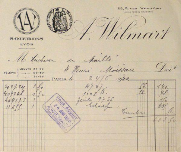 Duchess of Maillé Silks Receipt, 1930-main-10570M