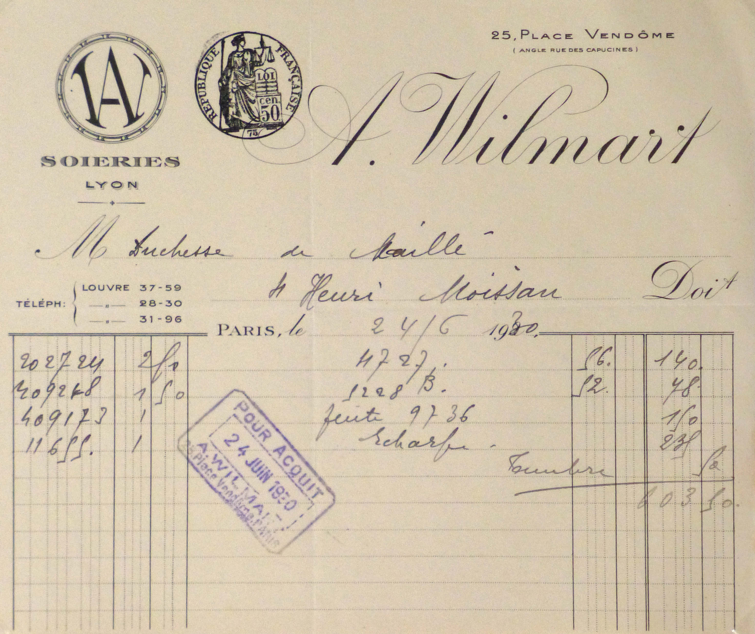 Duchess of Maillé Silks Receipt, 1930-main-10570M