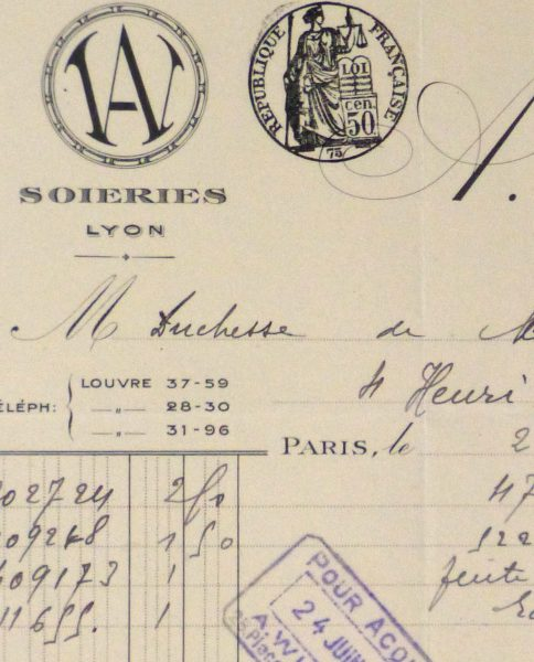 Duchess of Maillé Silks Receipt, 1930-detail 2-10570M