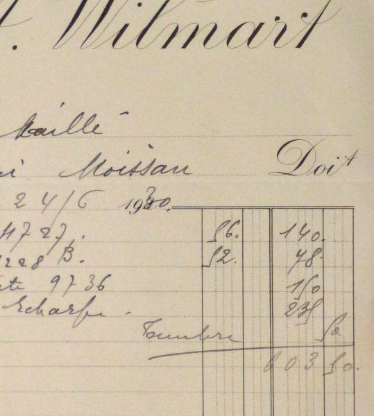 Duchess of Maillé Silks Receipt, 1930-detail-10570M
