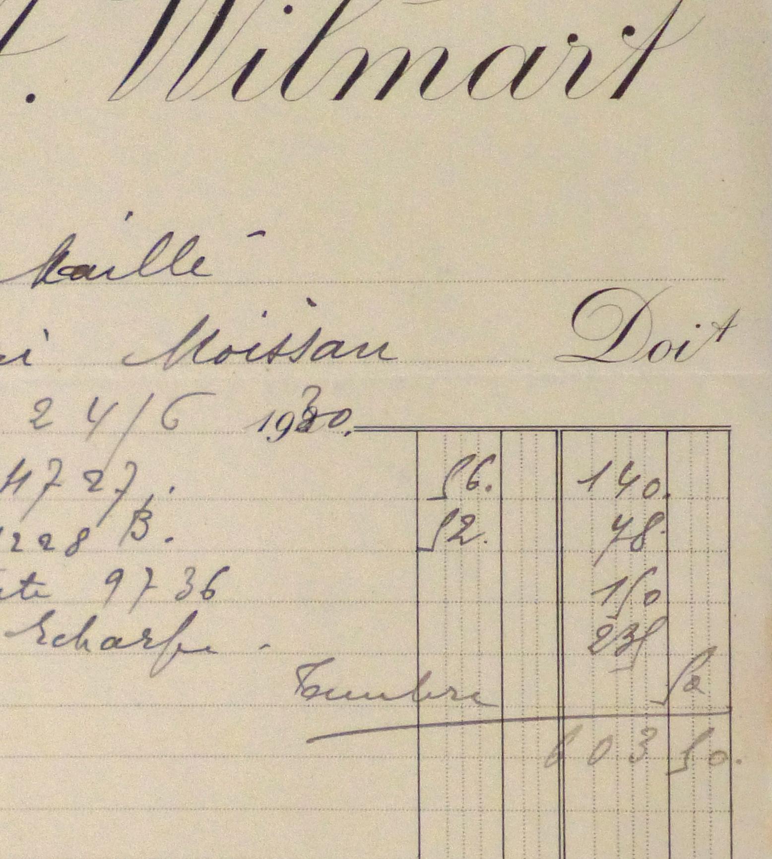 Duchess of Maillé Silks Receipt, 1930-detail-10570M