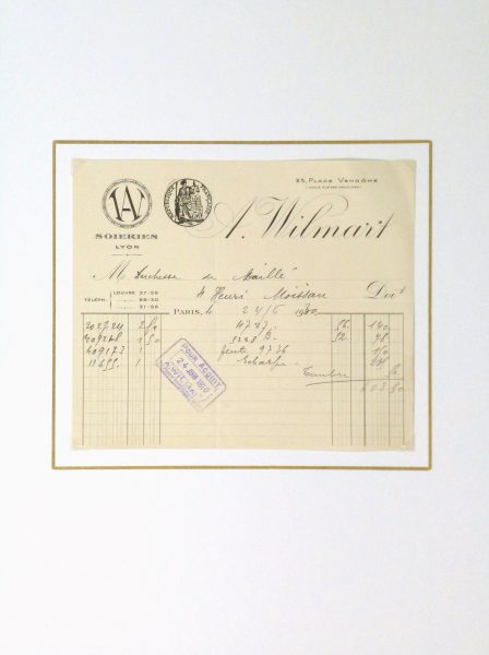 Duchess of Maillé Silks Receipt, 1930-matted-10570M