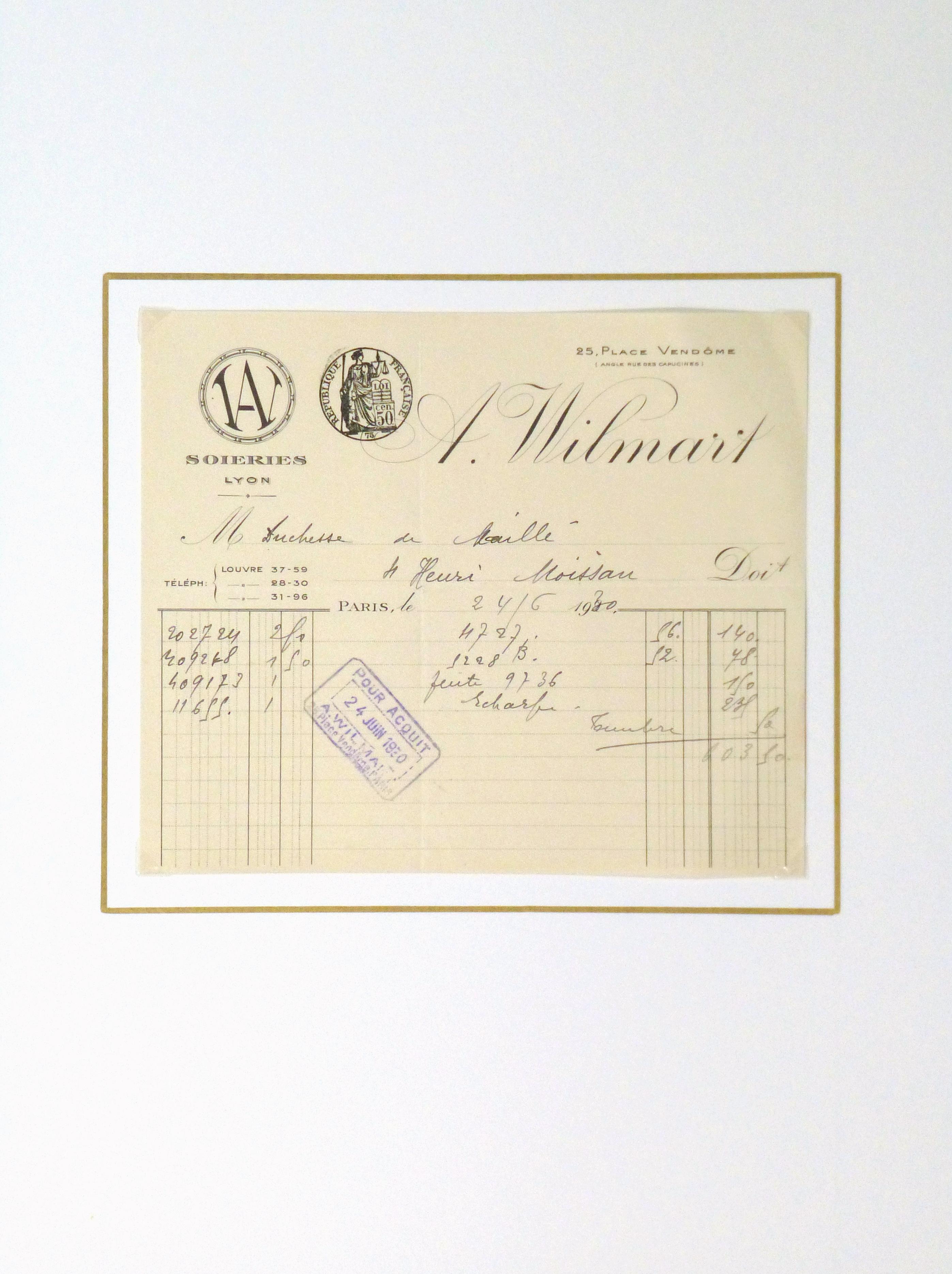 Duchess of Maillé Silks Receipt, 1930-matted-10570M