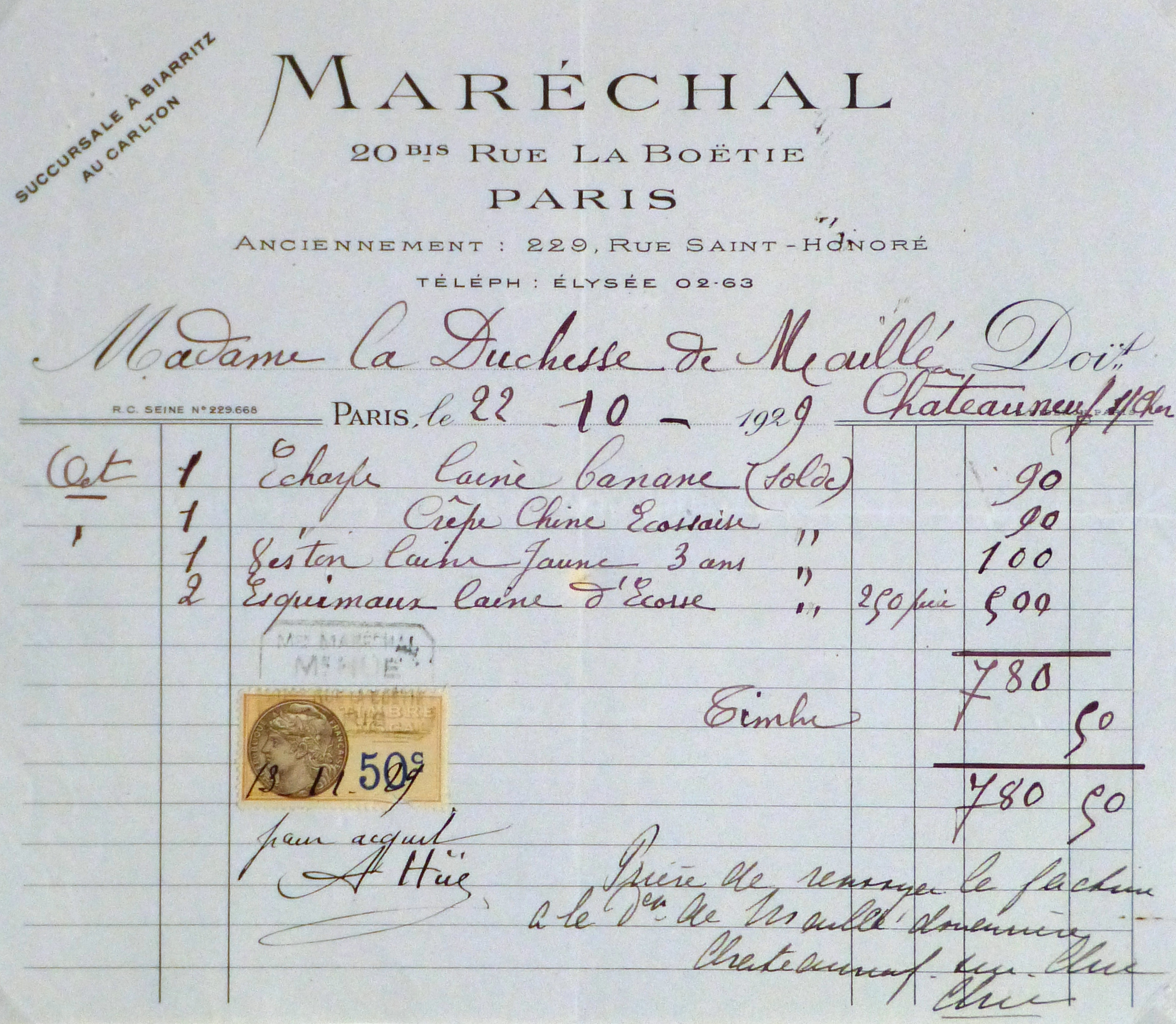 Duchess of Maillé Clothing Receipt, 1929-main-10571M