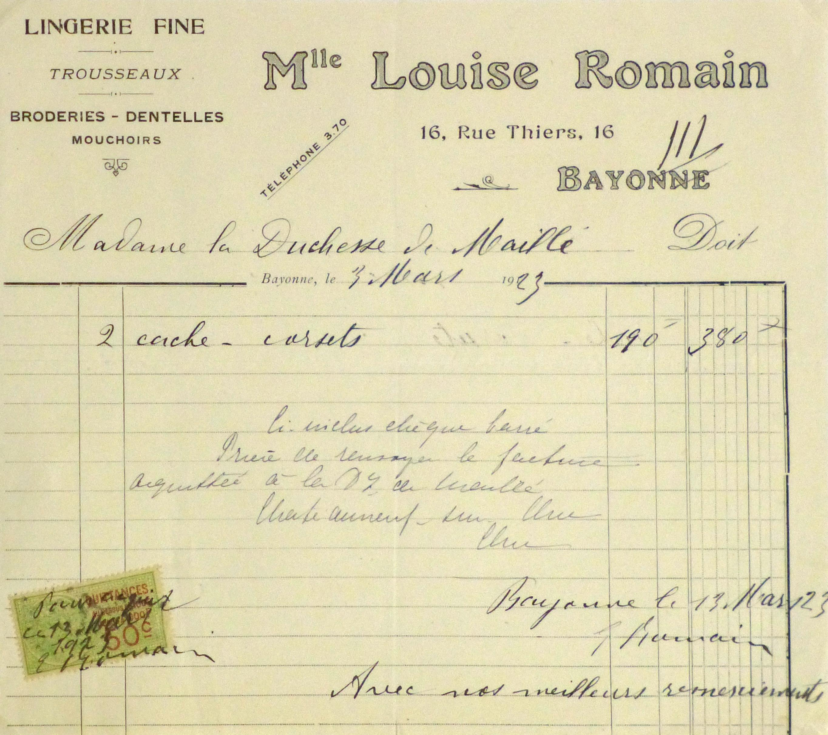 Duchess of Maillé Lingerie Receipt, 1923-main-10572M