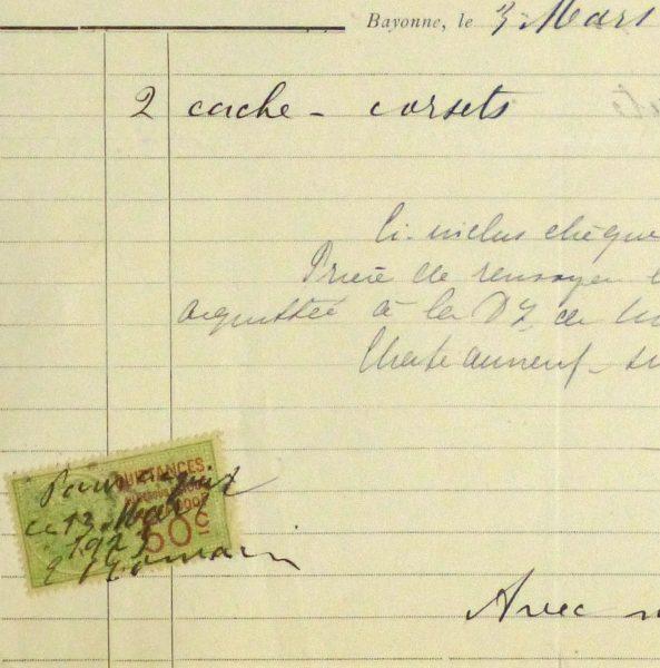Duchess of Maillé Lingerie Receipt, 1923-detail 2-10572M