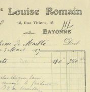 Duchess of Maillé Lingerie Receipt, 1923-detail-10572M