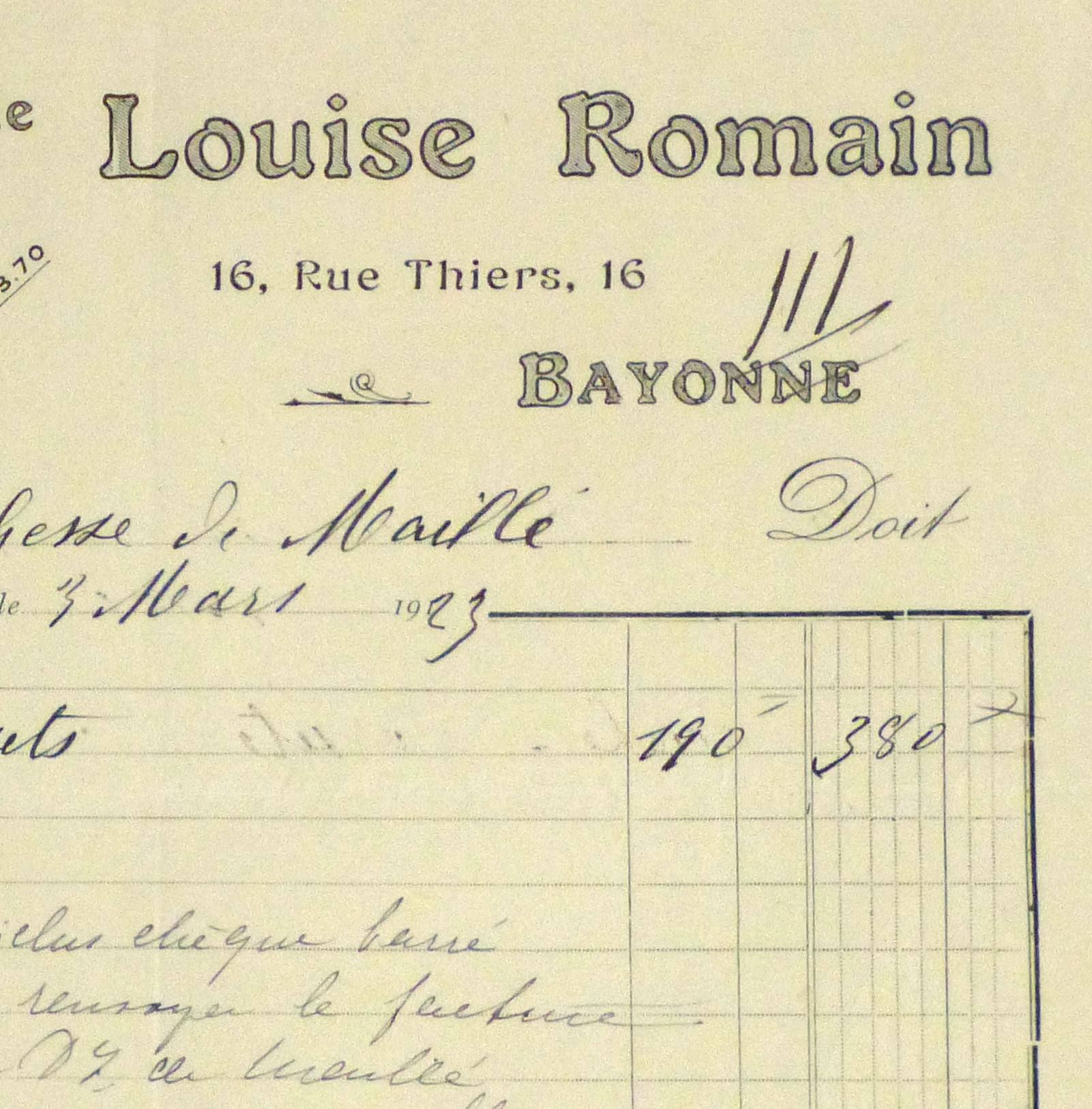 Duchess of Maillé Lingerie Receipt, 1923-detail-10572M