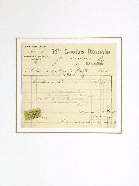 Duchess of Maillé Lingerie Receipt, 1923-matted-10572M