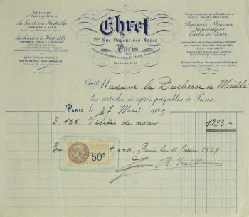 Duchess of Maillé Print Shop Receipt, 1929-main-10573M