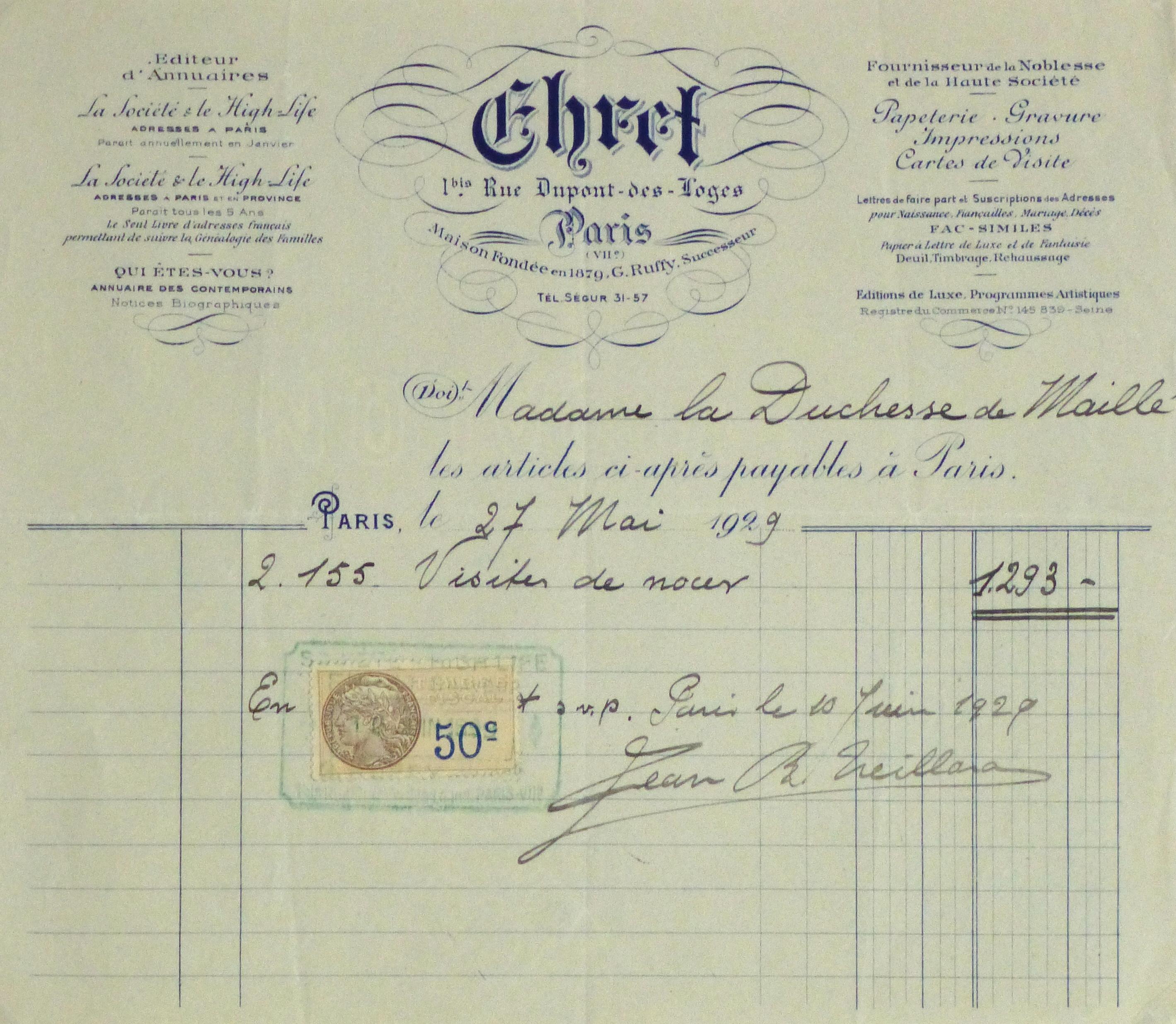 Duchess of Maillé Print Shop Receipt, 1929-main-10573M