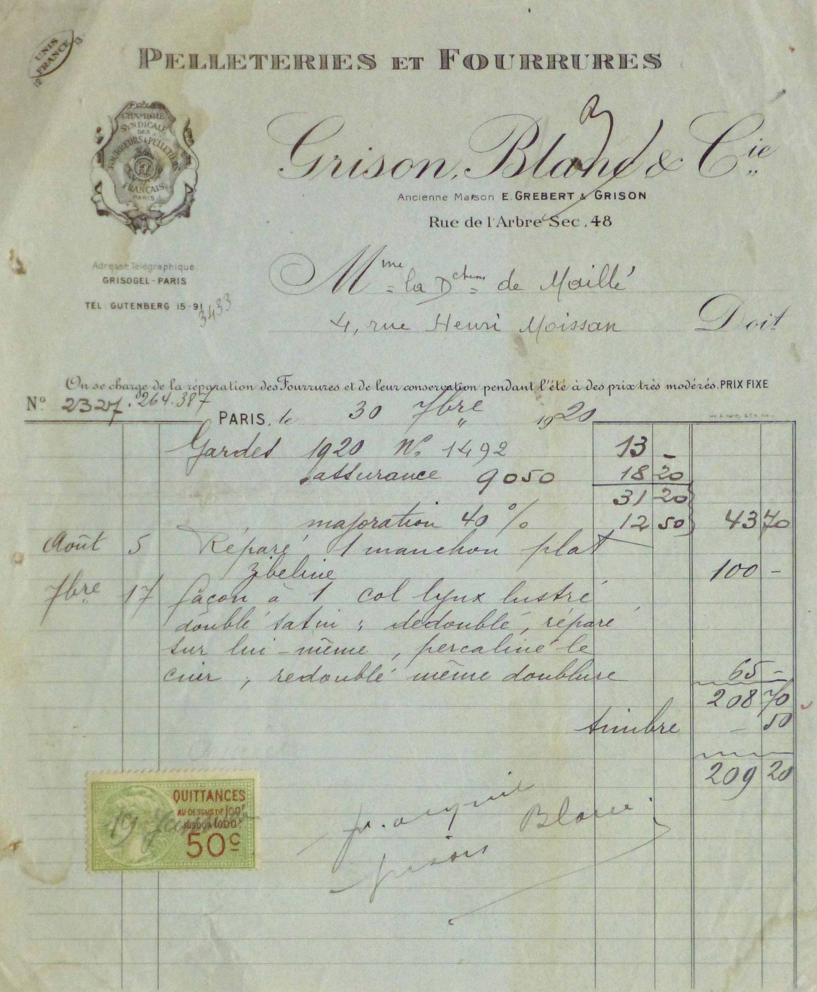 Duchess of Maillé Furs Receipt, 1920-main-10574M