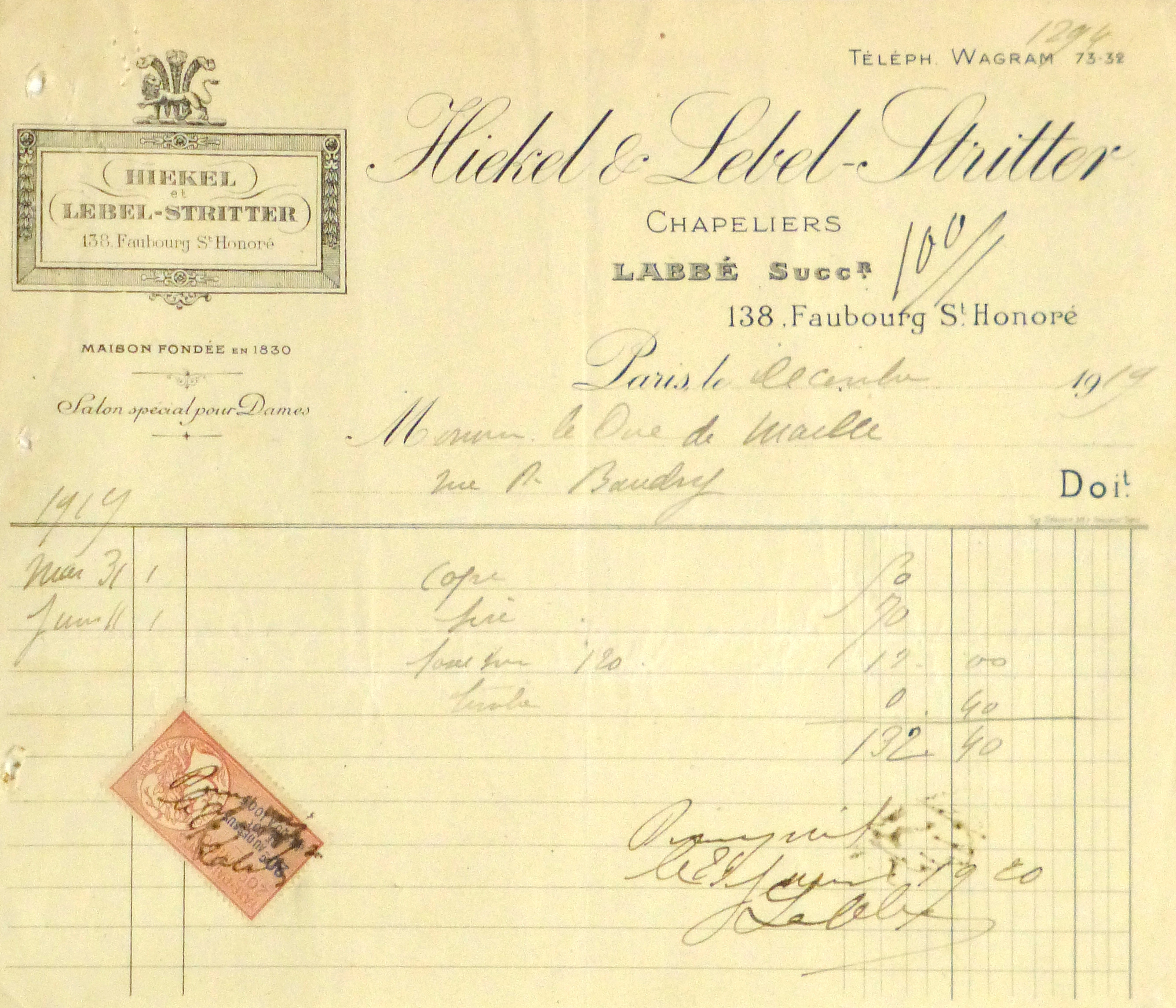 Duchess of Maillé Hat Receipt, 1919-main-10575M