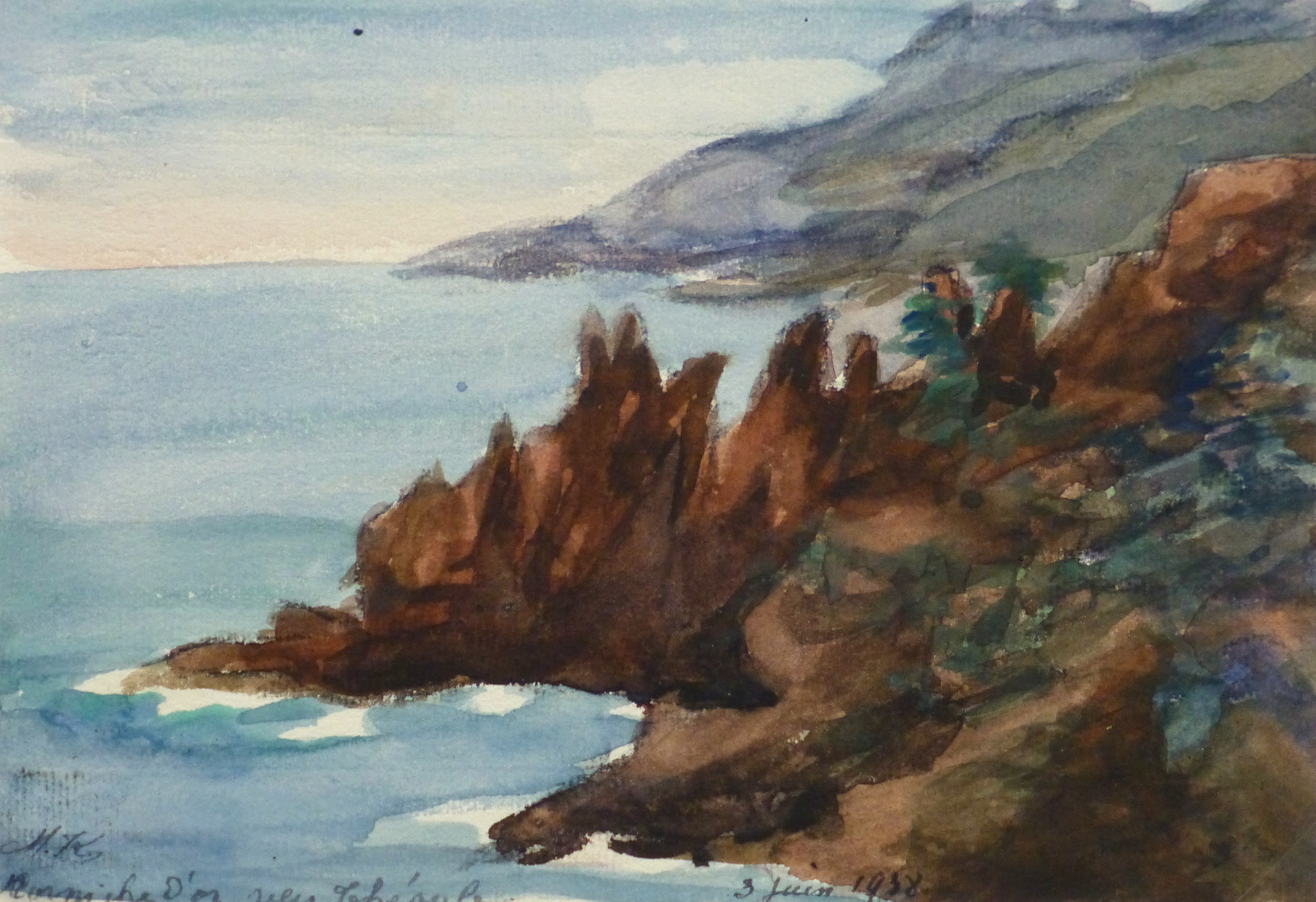 Watercolor Landscape - Mountain Shoreline, 1938-main-10632M