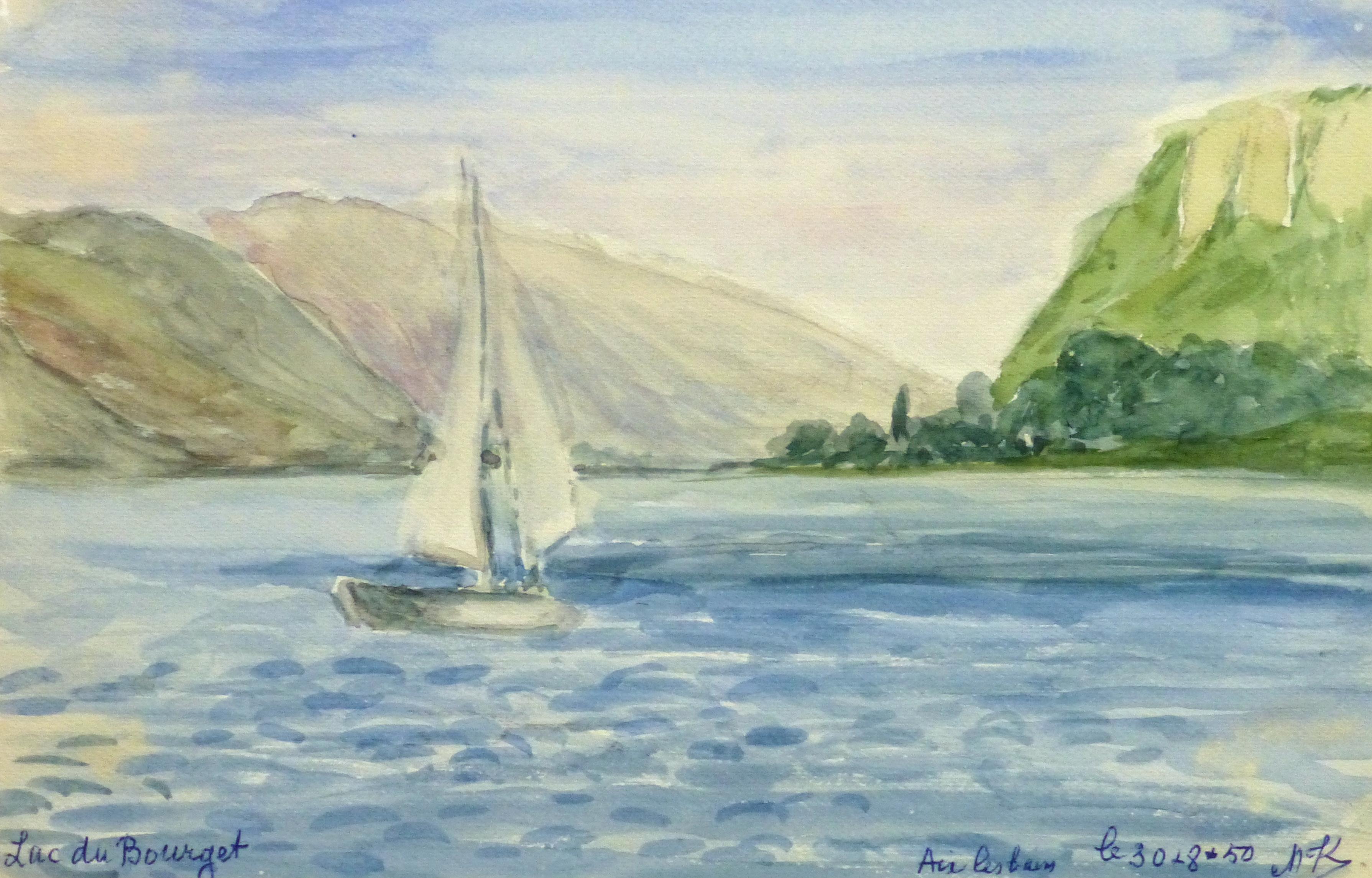 Watercolor Landscape - Smooth Sailing, Circa 1950-main-10635M