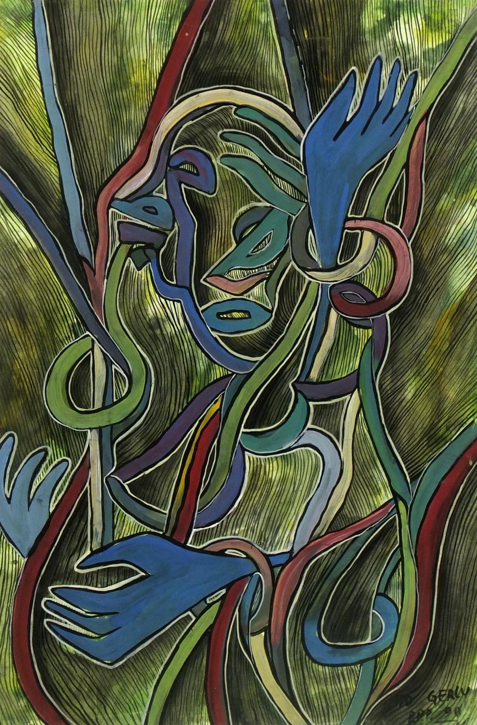 Abstract Ink & Gouache - Hands, 1990-main-5955G