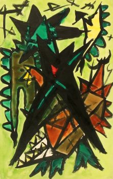 Watercolor Abstract - Geometric Jungle, Circa 1960-main-5981G