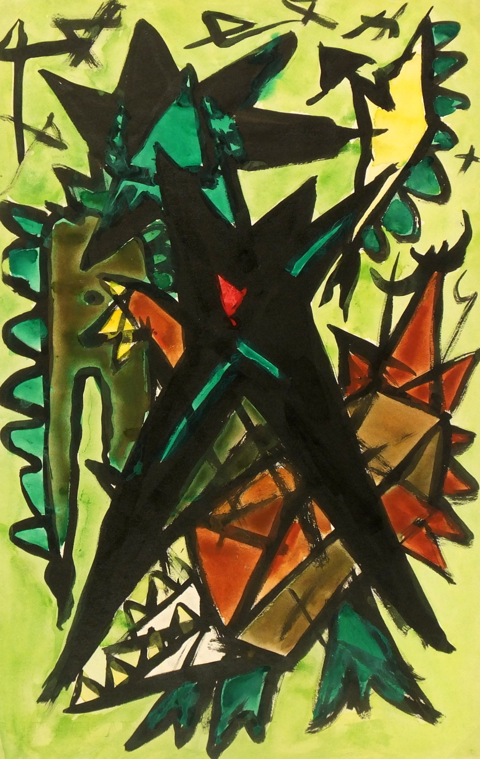 Watercolor Abstract - Geometric Jungle, Circa 1960-main-5981G