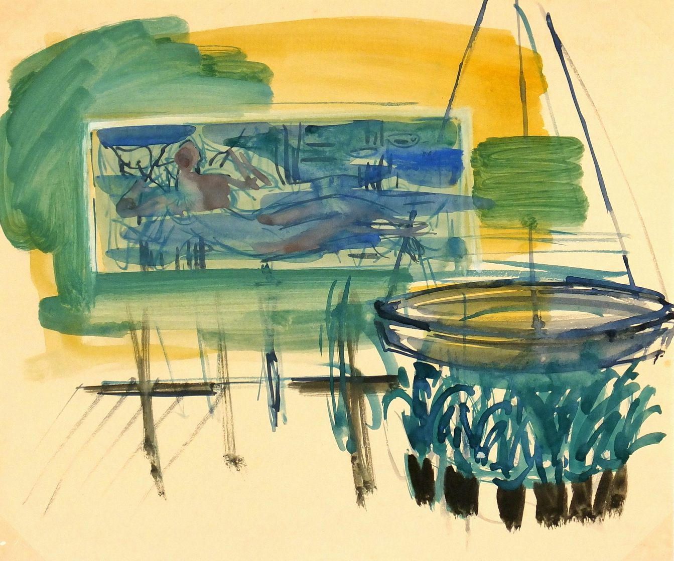 Watercolor Landscape - Fountain of Whimsy, 1953-main-5984G