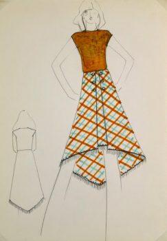 Balmain Fashion Sketch - Plaid Skirt, Circa 1970-main-6029G