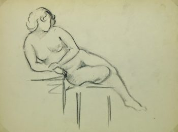 Charcoal Drawing - Reclining Nude, Circa 1930-main-6049G