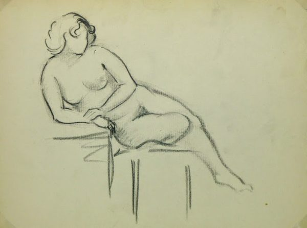 Charcoal Drawing - Reclining Nude, Circa 1930-main-6049G