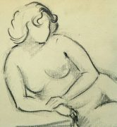 Charcoal Drawing - Reclining Nude, Circa 1930-detail-6049G
