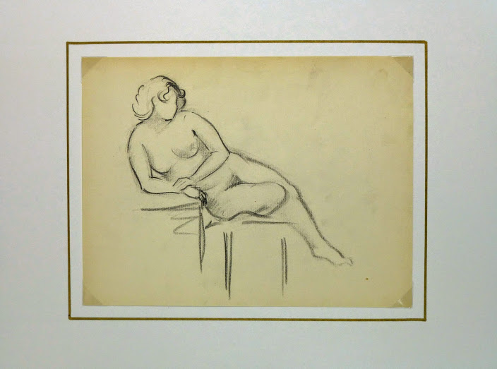 Charcoal Drawing - Reclining Nude, Circa 1930-matted-6049G