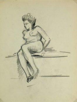 Charcoal Drawing - Reclining Nude, Circa 1930-main-6050G