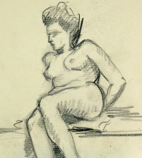 Charcoal Drawing - Reclining Nude, Circa 1930-detail-6050G