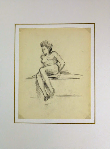 Charcoal Drawing - Reclining Nude, Circa 1930-matted-6050G
