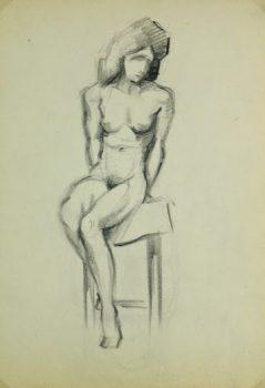Charcoal Drawing - Sitting Female Nude, Circa 1930-main-6051G