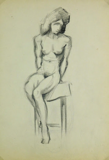 Charcoal Drawing - Sitting Female Nude, Circa 1930-main-6051G