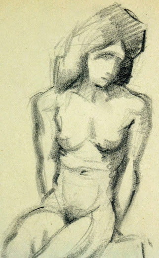 Charcoal Drawing - Sitting Female Nude, Circa 1930-detail-6051G