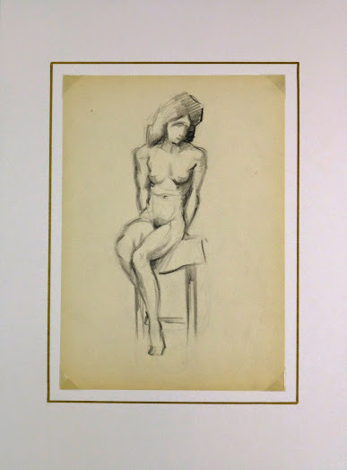 Charcoal Drawing - Sitting Female Nude, Circa 1930-matted-6051G