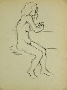 Charcoal Drawing - Female Nude, Circa 1930-main-6052G