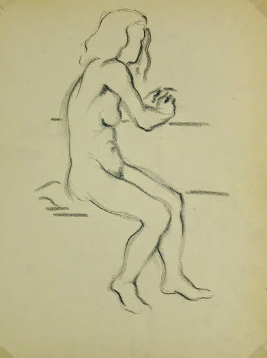 Charcoal Drawing - Female Nude, Circa 1930-main-6052G