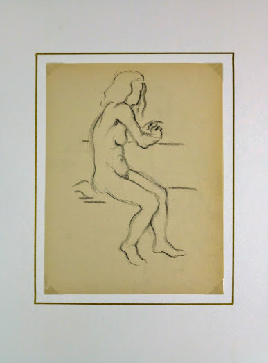Charcoal Drawing - Female Nude, Circa 1930-matted-6052G