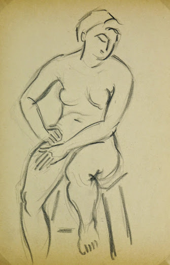 Charcoal Drawing - Female Nude Seated, Circa 1930-main-6053G