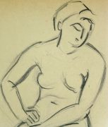 Charcoal Drawing - Female Nude Seated, Circa 1930-detail-6053G