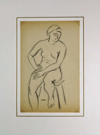 Charcoal Drawing - Female Nude Seated, Circa 1930-matted-6053G