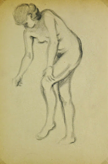 Charcoal Drawing - Female Nude, Circa 1930-main-6054G