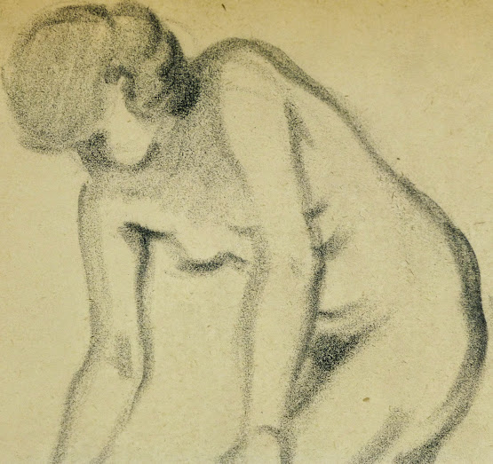Charcoal Drawing - Female Nude, Circa 1930-detail-6054G