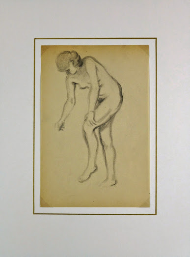 Charcoal Drawing - Female Nude, Circa 1930-matted-6054G